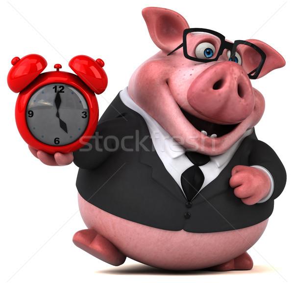 весело свинья 3d иллюстрации часы бизнесмен костюм Сток-фото © julientromeur