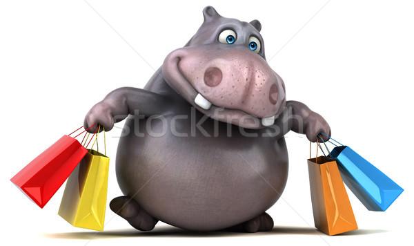 Divertimento ippopotamo illustrazione 3d shop grasso grafica Foto d'archivio © julientromeur