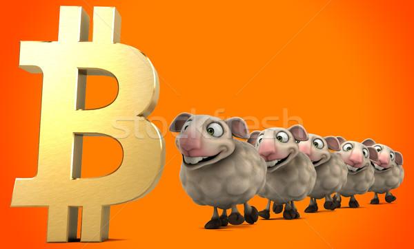 Ovelha bitcoin ilustração 3d dinheiro rede financiar Foto stock © julientromeur