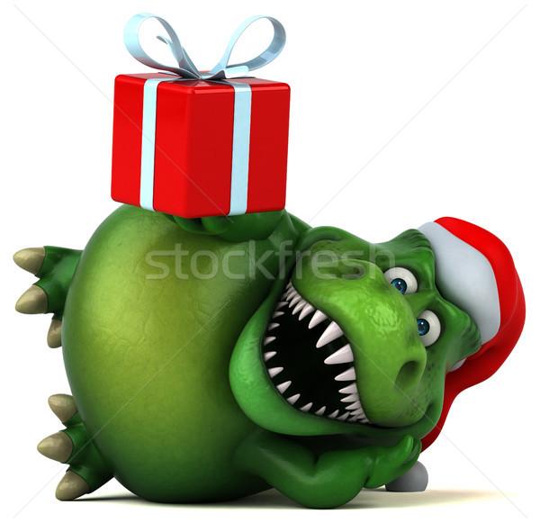 Сток-фото: весело · динозавр · 3d · иллюстрации · зубов · животного · Рождества