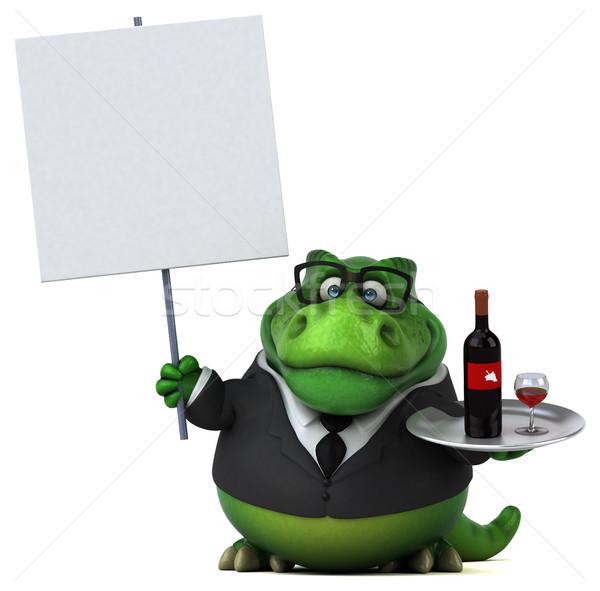Сток-фото: весело · 3d · иллюстрации · бизнеса · вино · бизнесмен · пить
