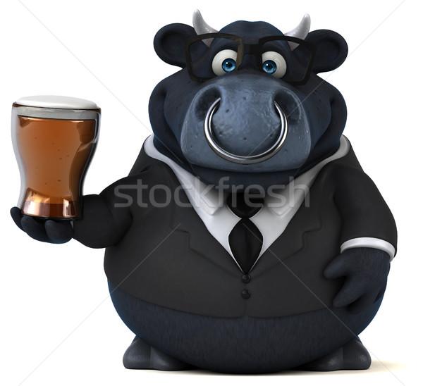 Сток-фото: черный · бык · 3d · иллюстрации · бизнеса · пива · корова