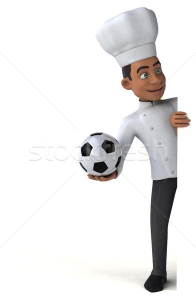 Jókedv szakács sport konyha labda fehér Stock fotó © julientromeur