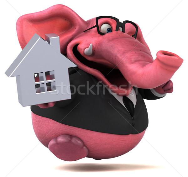 Roze olifant 3d illustration huis bier home Stockfoto © julientromeur