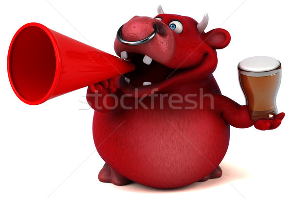 Rouge Bull 3d illustration cheveux vache boire Photo stock © julientromeur