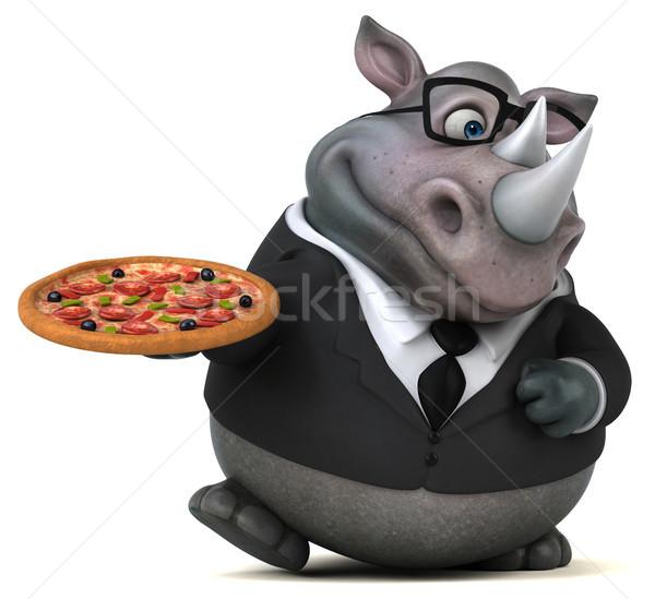 Diversión rinoceronte 3d pizza empresario traje Foto stock © julientromeur