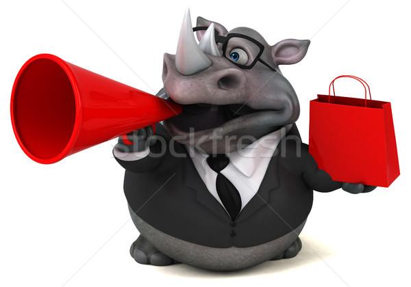 Diversão rinoceronte ilustração 3d empresário terno gordura Foto stock © julientromeur