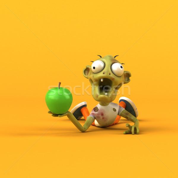 Divertimento zombie illustrazione 3d uomo mela frutta Foto d'archivio © julientromeur