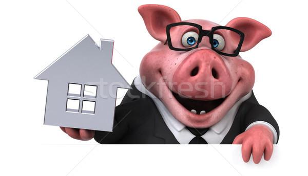 Stok fotoğraf: Eğlence · domuz · 3d · illustration · ev · ev · işadamı