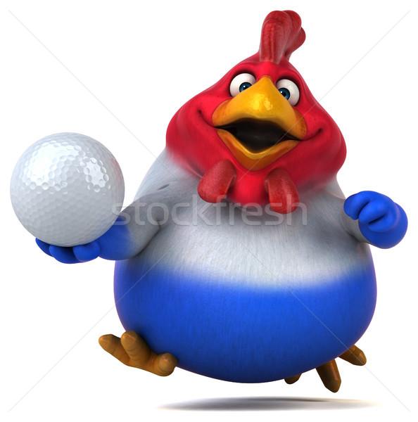 Eğlence tavuk 3d illustration golf kuş top Stok fotoğraf © julientromeur