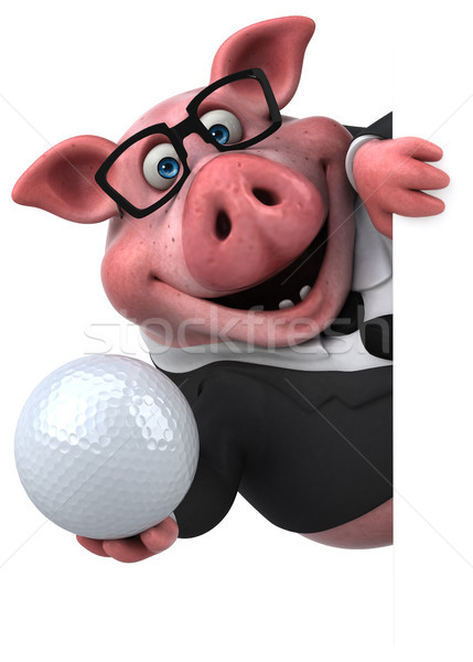 Zabawy wieprzowych 3d ilustracji golf garnitur gospodarstwa Zdjęcia stock © julientromeur