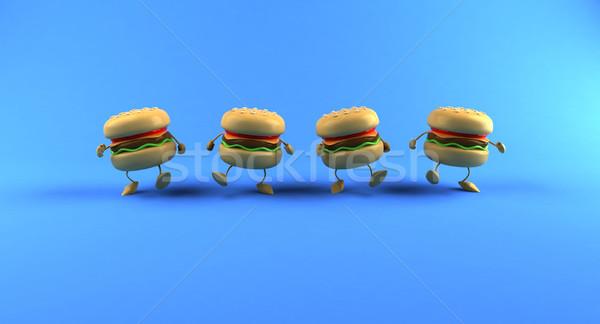Hamburger Essen Brot Fleisch Fett Essen Stock foto © julientromeur