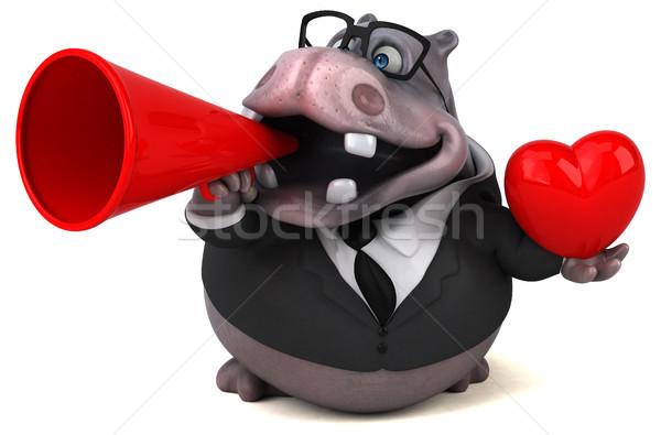 Leuk nijlpaard 3d illustration natuur zakenman pak Stockfoto © julientromeur