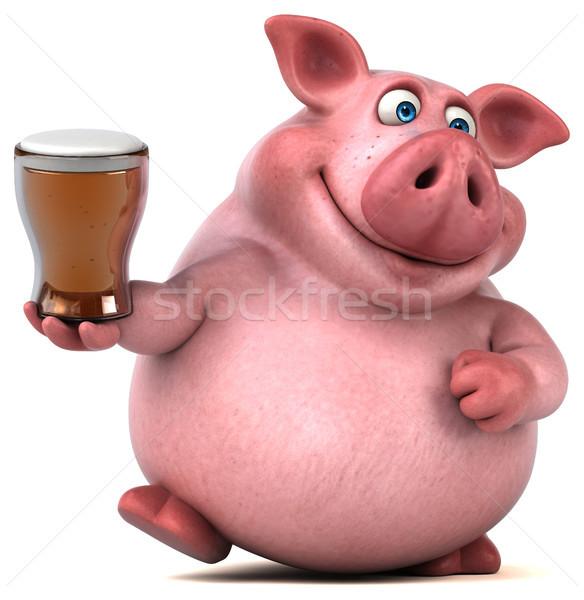 Leuk varken 3d illustration voedsel drinken vet Stockfoto © julientromeur