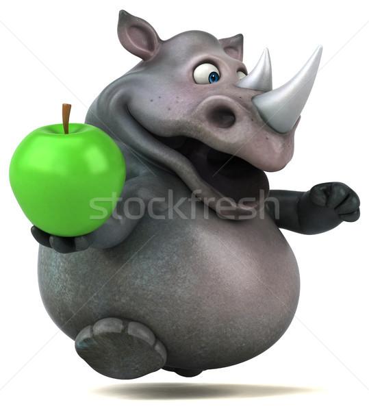 Zabawy nosorożec 3d ilustracji jabłko owoców tłuszczu Zdjęcia stock © julientromeur