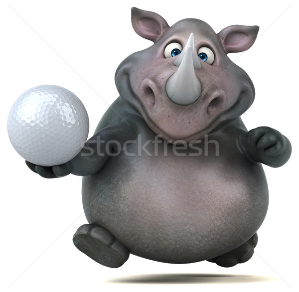 весело носорог 3d иллюстрации гольф спорт мяча Сток-фото © julientromeur