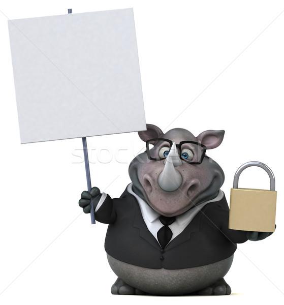 Jókedv orrszarvú 3d illusztráció üzletember öltöny kövér Stock fotó © julientromeur