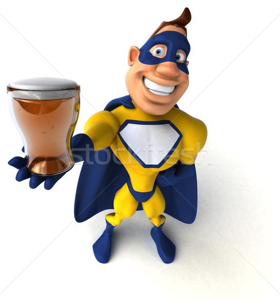 Stok fotoğraf: Eğlence · süper · kahraman · adam · bira · vücut · içmek