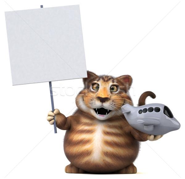 Zabawy kot 3d ilustracji podróży płaszczyzny funny Zdjęcia stock © julientromeur