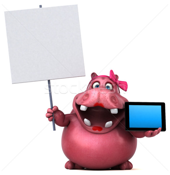 розовый гиппопотам 3d иллюстрации женщину интернет жира Сток-фото © julientromeur