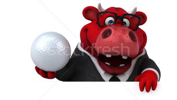 красный бык 3d иллюстрации гольф костюм весело Сток-фото © julientromeur