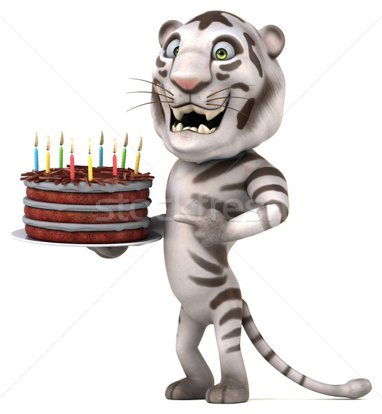 Eğlence kaplan 3d illustration doğum günü kek Stok fotoğraf © julientromeur