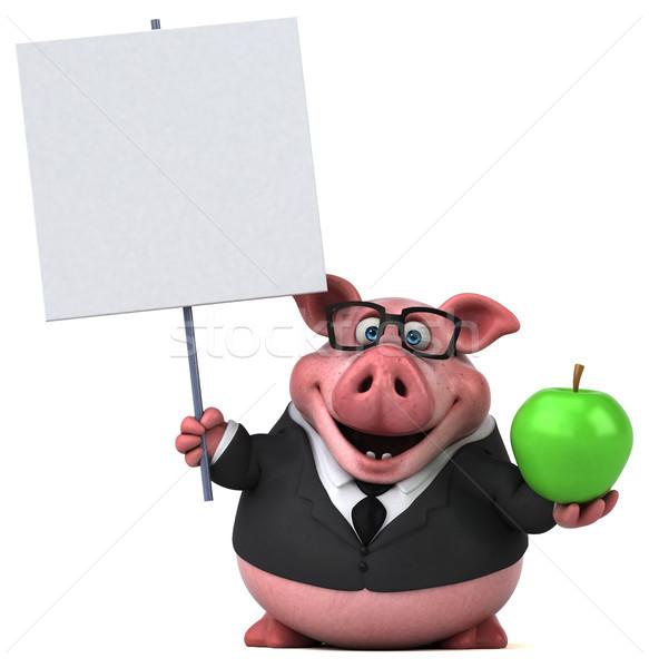 Diversão porco ilustração 3d maçã fruto empresário Foto stock © julientromeur