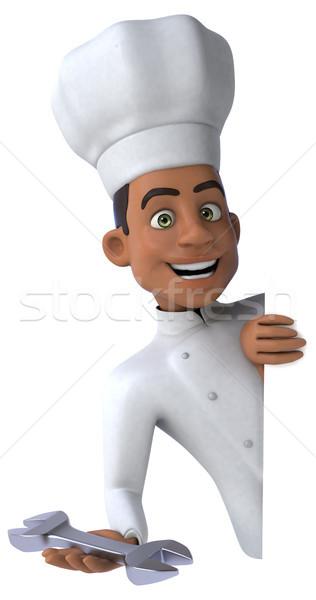 Jókedv szakács konyha munkás fehér főzés Stock fotó © julientromeur