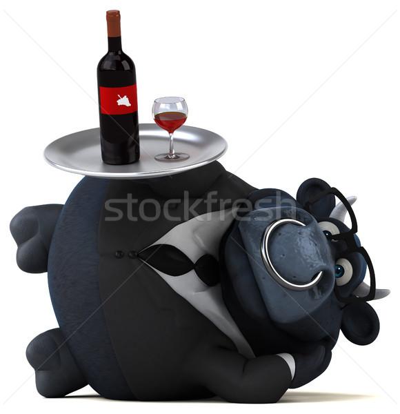 Foto stock: Preto · touro · ilustração · 3d · negócio · vinho · empresário