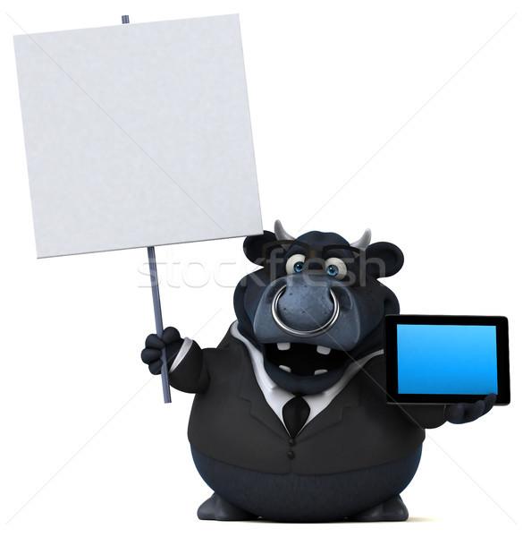 Negru taur ilustrare 3d Internet costum fermă Imagine de stoc © julientromeur