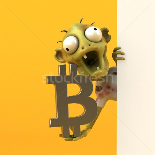 Zombie bitcoin illustrazione 3d soldi rete schermo Foto d'archivio © julientromeur