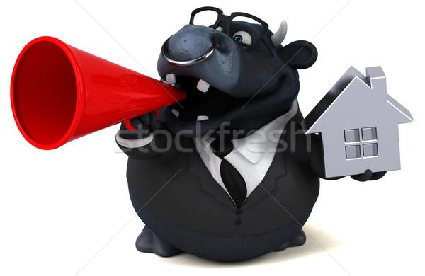 Zwarte stier 3d illustration business huis home Stockfoto © julientromeur