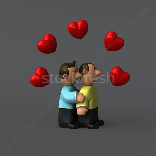 Gay couple 3d illustration heureux coeur hommes Photo stock © julientromeur