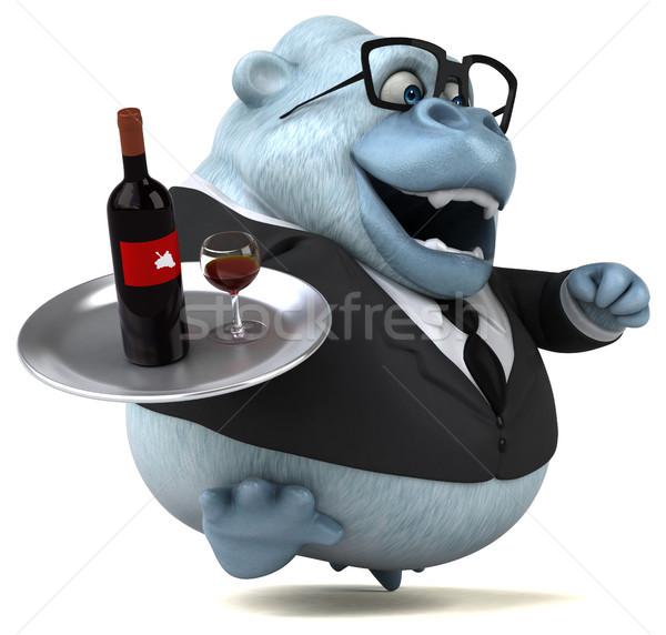 Stok fotoğraf: Eğlence · beyaz · maymun · 3d · illustration · şarap · doğa