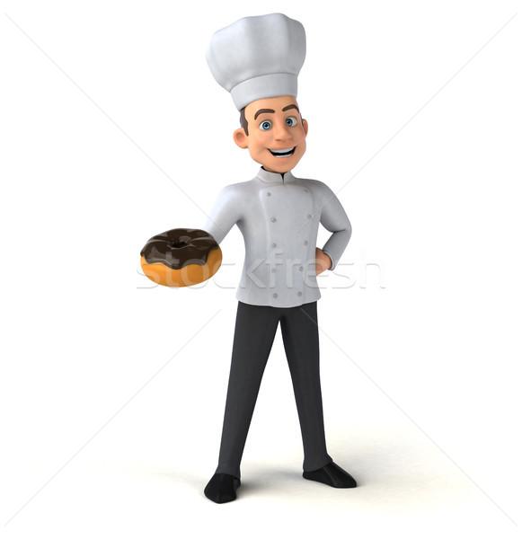 Jókedv szakács csokoládé konyha fehér főzés Stock fotó © julientromeur