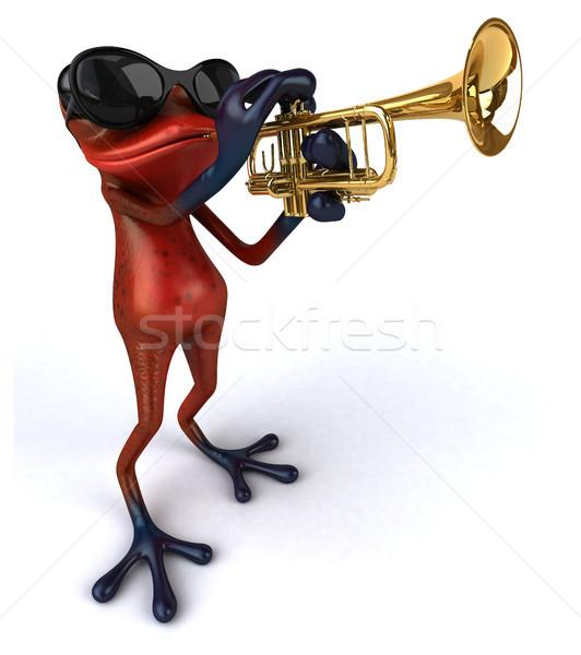 Stok fotoğraf: Eğlence · kurbağa · müzik · tropikal · trompet · 3D