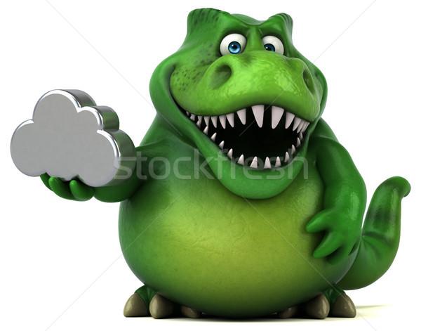 Foto stock: Diversão · dinossauro · ilustração · 3d · dentes · nuvem · animal