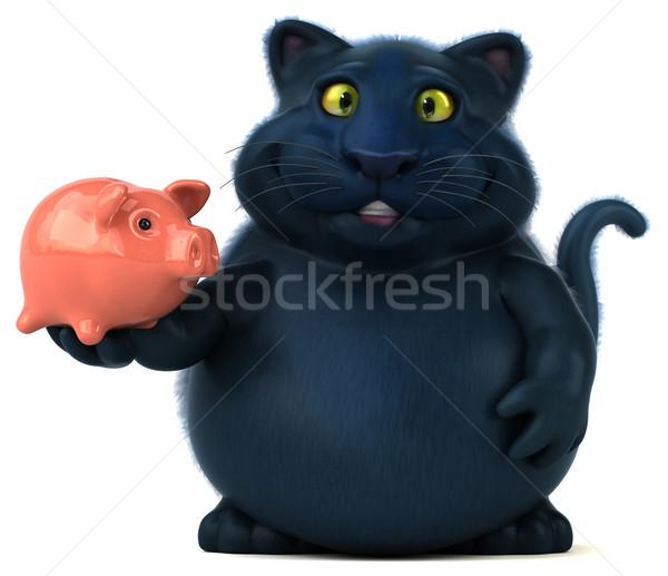 Diversão gato ilustração 3d dinheiro animal desenho animado Foto stock © julientromeur