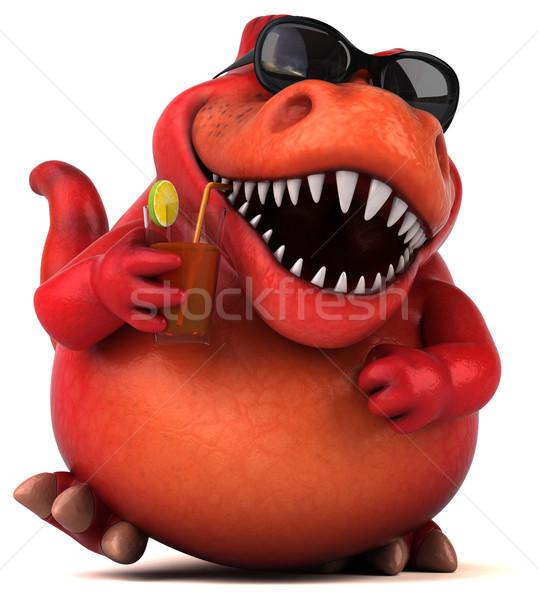 Foto stock: Diversão · dinossauro · ilustração · 3d · coquetel · dentes · animal