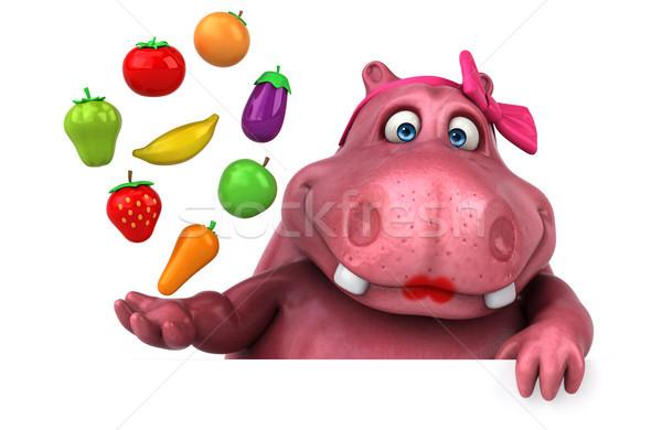 Różowy hipopotam 3d ilustracji jabłko tłuszczu pomidorów Zdjęcia stock © julientromeur
