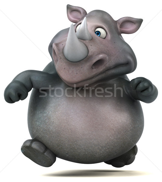 Jókedv orrszarvú 3d illusztráció kövér állat indiai Stock fotó © julientromeur