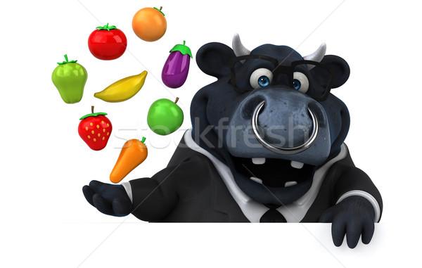 Siyah boğa 3d illustration elma takım elbise çiftlik Stok fotoğraf © julientromeur