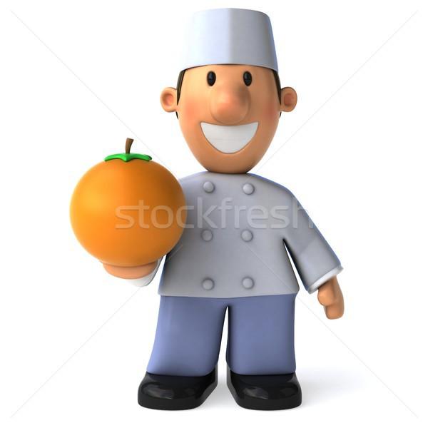 весело Бейкер 3d иллюстрации оранжевый Кука Сток-фото © julientromeur