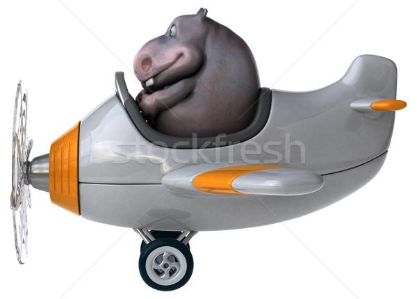 楽しい カバ 3次元の図 飛行機 平面 脂肪 ストックフォト © julientromeur