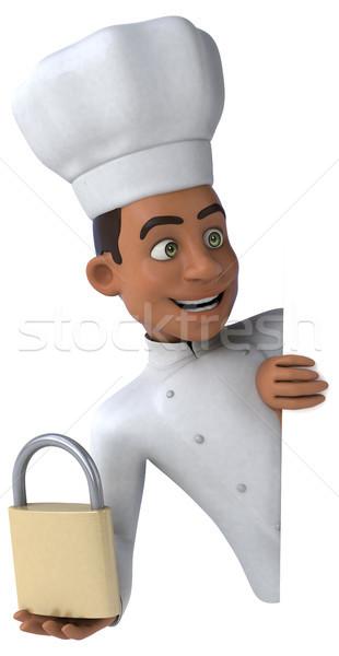 Jókedv szakács konyha fehér főzés szakács Stock fotó © julientromeur