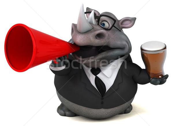 Diversión rinoceronte 3d cerveza empresario beber Foto stock © julientromeur