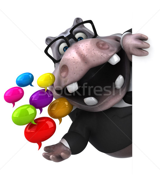Fun hippo - 3D Illustration Stock photo © julientromeur