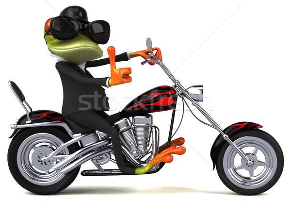Leuk kikker motorfiets 3d illustration ontwerp reizen Stockfoto © julientromeur