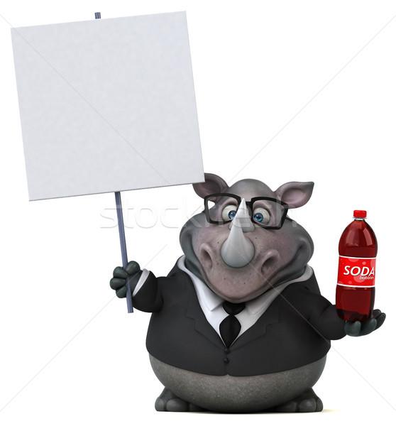 Jókedv orrszarvú 3d illusztráció üzletember ital öltöny Stock fotó © julientromeur