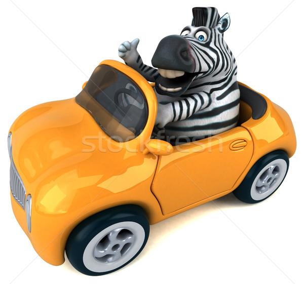 ストックフォト: 楽しい · シマウマ · 3次元の図 · 車 · アフリカ · 動物